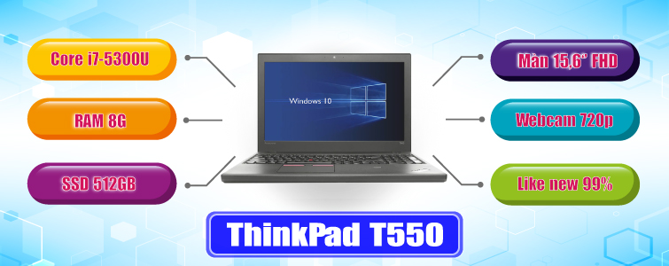 ThinkPad T550 i7 5600U 8GB SSD 512GB